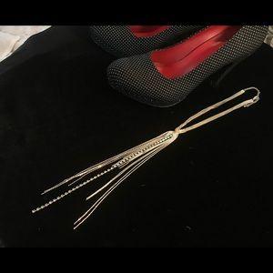 Long Sterling Multi Strand Necklace